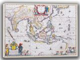 Blaeu, Willem: Map of South East Asia. Antique/Vintage 17th Century Map. Fine Art Canvas. Sizes: A4/A3/A2/A1 (003873)